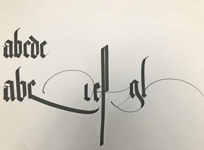 Kalligraphie von Brody Neuenschwander. entstanden beim Vortrag im Diözesanmuseum Paderborn, Dezember 2019