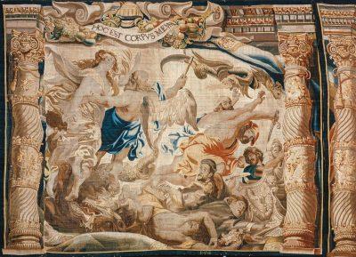 """Frans van den Hecke nach Peter Paul Rubens, Teppich, Sieg der eucharistischen Wahrheit über die Häresie"""", verm. Mitte 17. Jh., Metropolitankapitel Köln ©Rheinisches Bildarchiv Köln; www.kulturelles-erbe-koeln.de"""