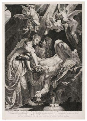 Kupferstich: Jacob Matham nach Peter Paul Rubens: Samson und Delila, verm. um 1613, Kupferstich, Siegerlandmuseum, Foto: Siegen, Siegerlandmuseum im Oberen Schloss